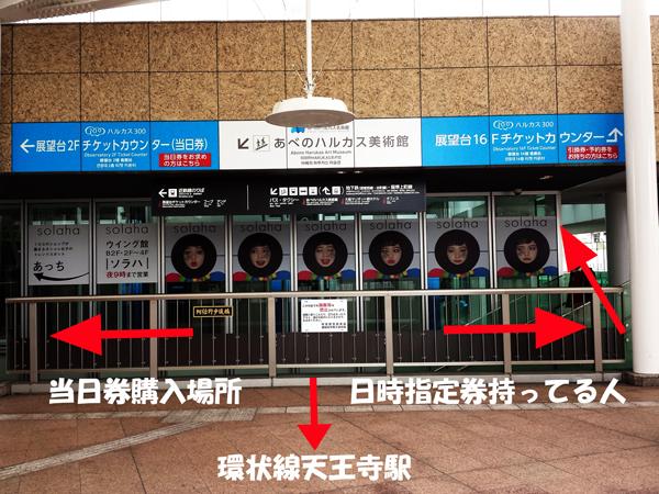 あべのハルカス 当日券購入場所と16階行きエレベーター入り口