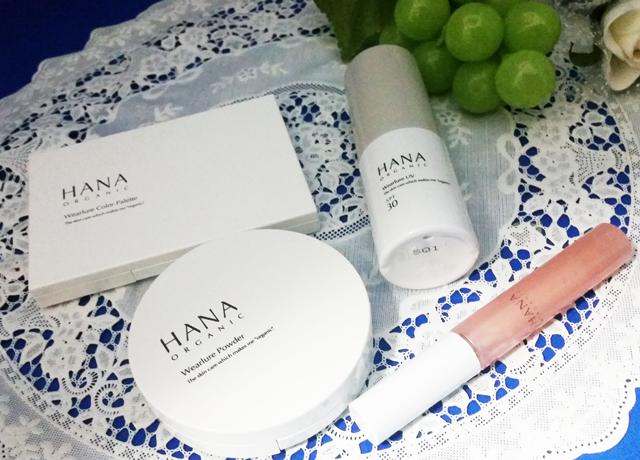 HANAオーガニックのメイク商品のパッケージ